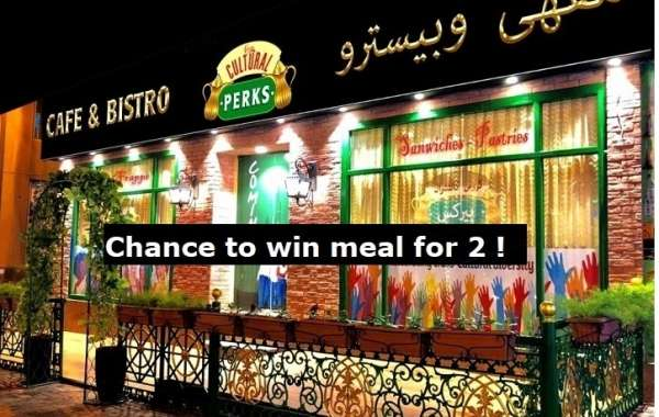 A CHANCE TO WIN MEAL FOR 2 AT CULTURAL PERKS RESTAURANT, ARABIAN COURTYARD HOTEL, DUBAI